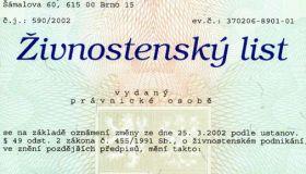 Лицензия, она же предпринимательское разрешение (živnostenský list)