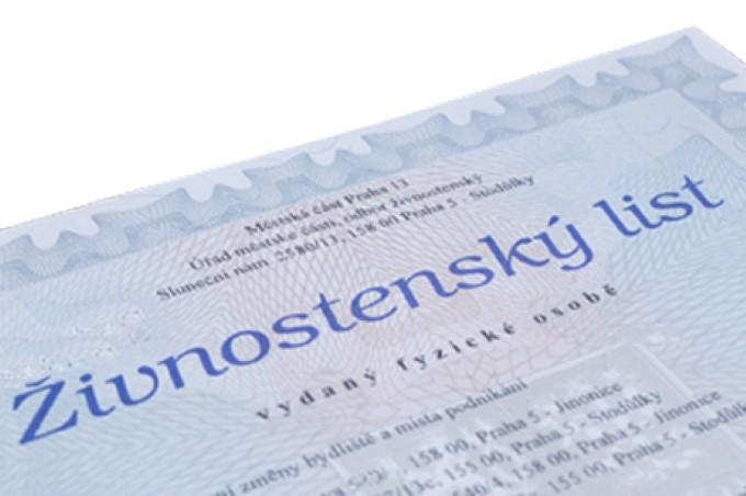 Лицензия она же предпринимательское разрешение (živnostenský list)